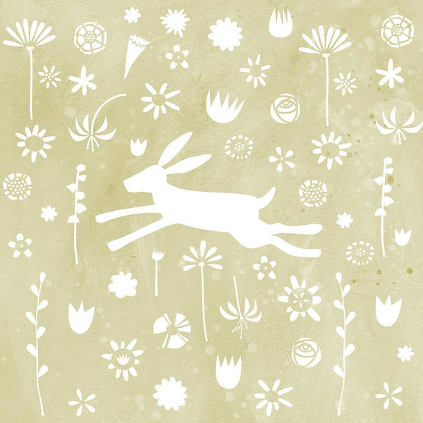 Flower Pattern Painting - The Hare In The Meadow by Nic Squirrell
