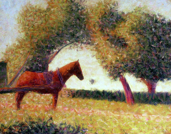 Chestnut Horse Painting - The Harnessed Horse by Georges Pierre Seurat