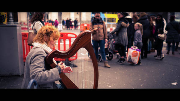 Busker Wall Art - Photograph - The Harpist - Dublin, Ireland - Color Street Photography by Giuseppe Milo