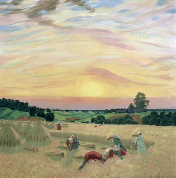 Oil Industry Painting - The Harvest by Boris Mikhailovich Kustodiev