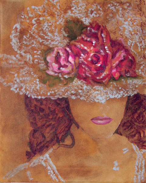 Wall Art - Painting - The Hat Lady 1 by Laura Heggestad