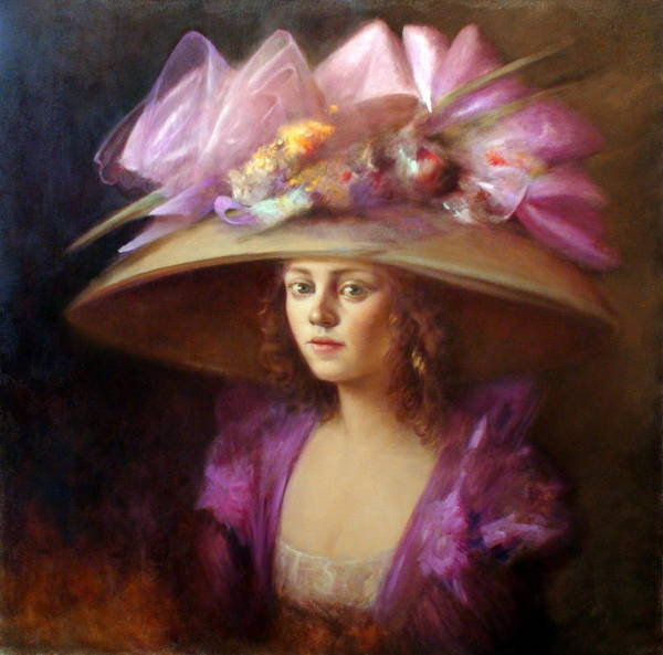 Romantic Realism Painting - The Hat by Loretta Fasan