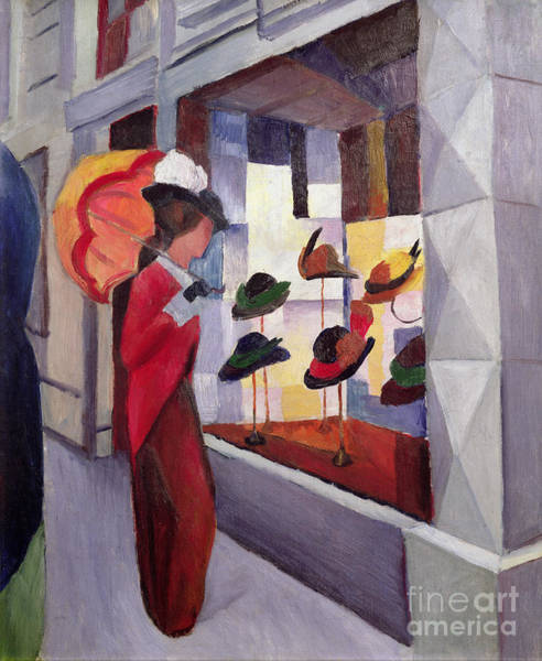 Window Dressing Wall Art - Painting - The Hat Shop by August Macke