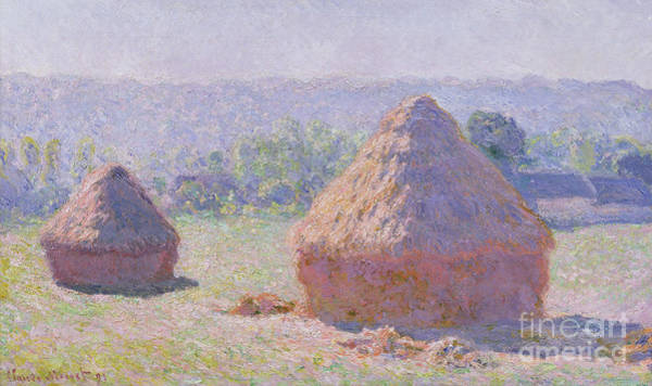 Monet Painting - The Haystacks by Claude Monet