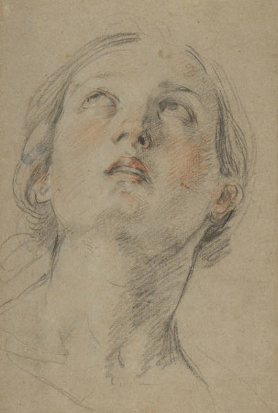 16th Century Wall Art - Drawing - The Head Of A Woman Looking Up by Guido Reni