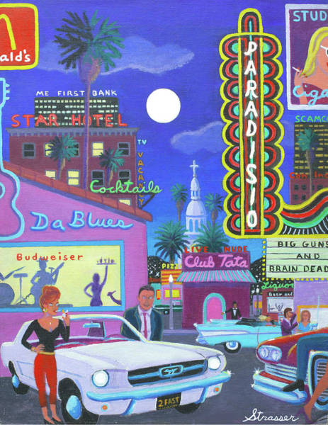 Neon Pink Painting - The Heart Of Saturday Night by Frank Strasser