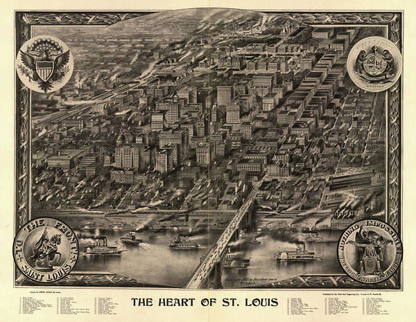 Wall Art - Painting - The Heart Of St. Louis by Fred Graf Engraving