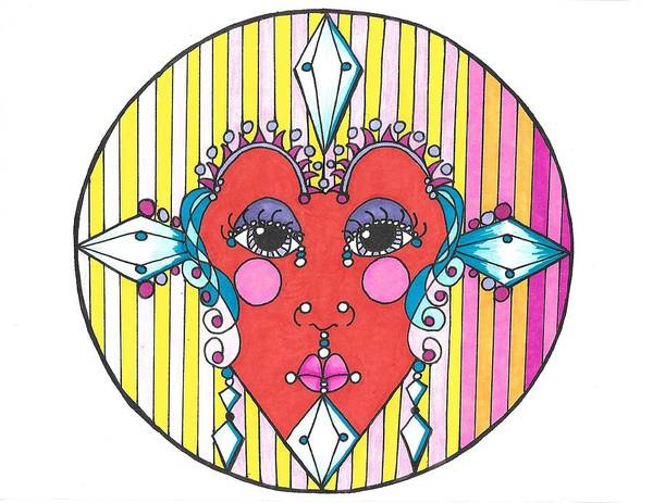 Drawing - The Heart Queen by Roberta Dunn