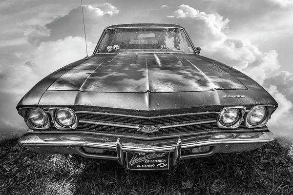 Wall Art - Photograph - The Heartbeat Of America Chevy El Camino Black And White by Debra and Dave Vanderlaan