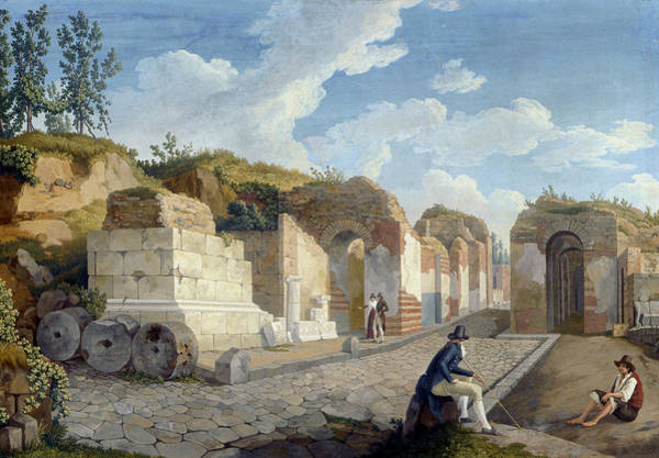 Wall Art - Painting - The Herculaneum Gate In Pompeii by Jacob Philipp Hackert