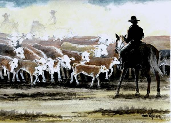 Horsemanship Painting - The Herders by Bob Patterson