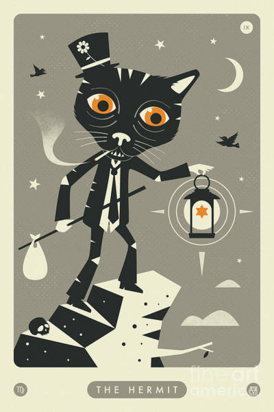 Occult Wall Art - Digital Art - The Hermit Tarot Card Cat  by Jazzberry Blue