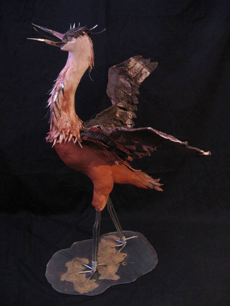 Fired Clay Wall Art - Sculpture - The Heron by Andre Ferron