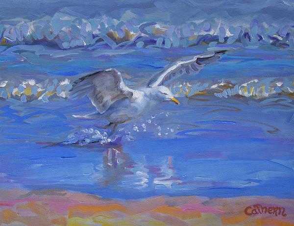 Painting - The Herring Gull On Golden Strand Doogurt Achill Mayo Ireland On The Wild Atlantic Way by Catherine Considine