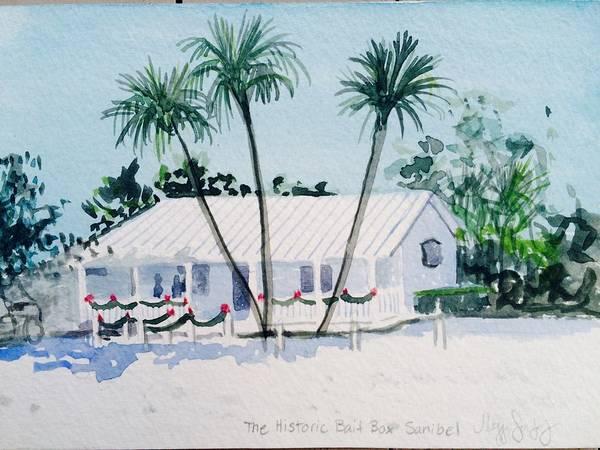 Captiva Island Painting - The Historic Bait Box, Christmas by Maggii Sarfaty