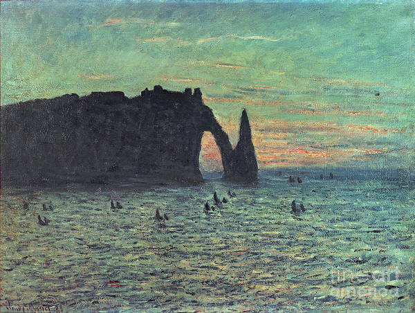 Needles Painting - The Hollow Needle At Etretat by Claude Monet