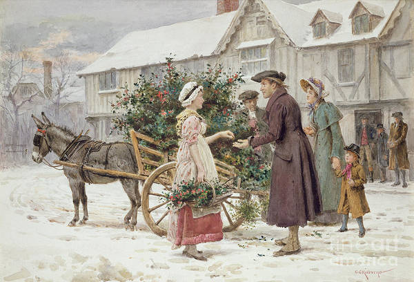 Donkey Painting - The Holly Cart by George Goodwin Kilburne