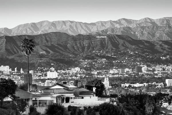 Photograph - The Hollywood Hills Urban Landscape - Los Angeles California Bw by Gregory Ballos