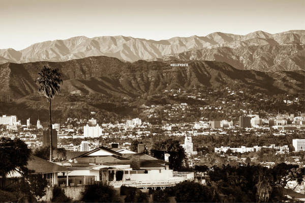 Photograph - The Hollywood Hills Urban Landscape - Los Angeles California - Sepia by Gregory Ballos