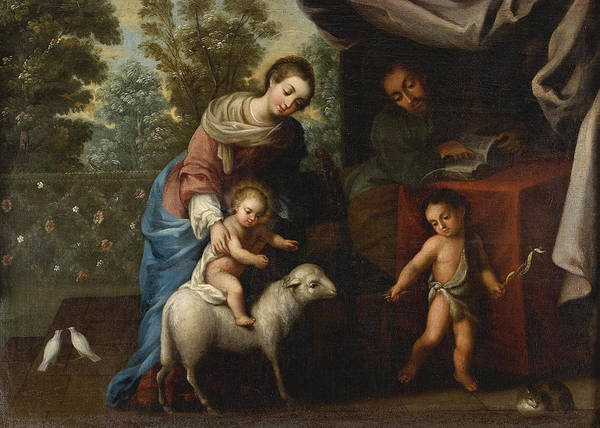 Wall Art - Painting - The Holy Family by Miguel Cabrera