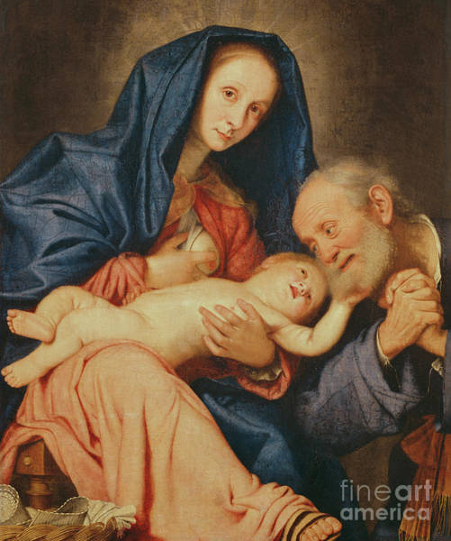Wall Art - Painting - The Holy Family With A Basket  by Il Sassoferrato