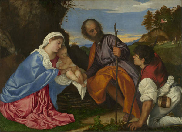 Titian Painting - The Holy Family With A Shepherd by Titian