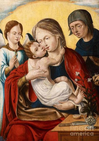 Circa Painting - The Holy Family With An Angel by MotionAge Designs