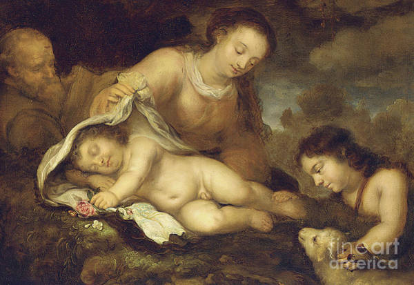 Wall Art - Painting - The Holy Family With Infant Saint John The Baptist by Jurgen Ovens