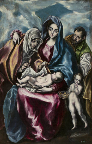 Saint Anne Painting - The Holy Family With Saint Anne And Saint John by El Greco