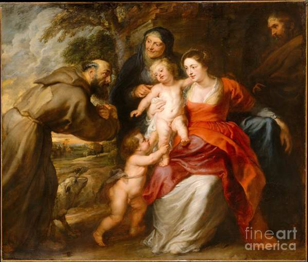 Saint Anne Painting - The Holy Family With Saints Francis And Anne And The Infant Saint John The Baptist by Celestial Images