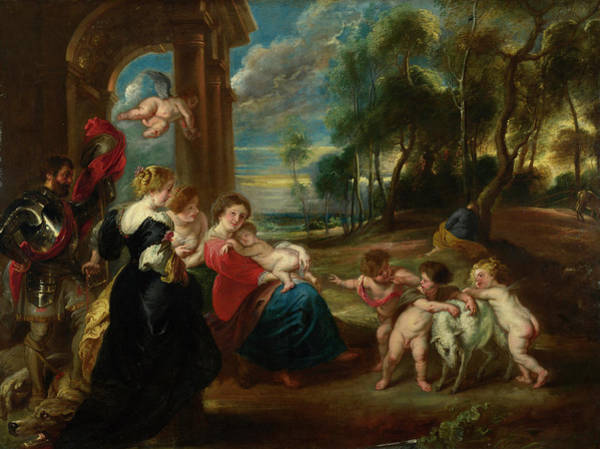 Pulling Painting - The Holy Family With Saints In A Landscape by Peter Paul Rubens