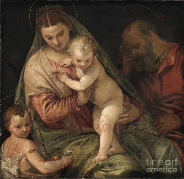 Painting - The Family With The Infant St. John The Baptist by Celestial Images