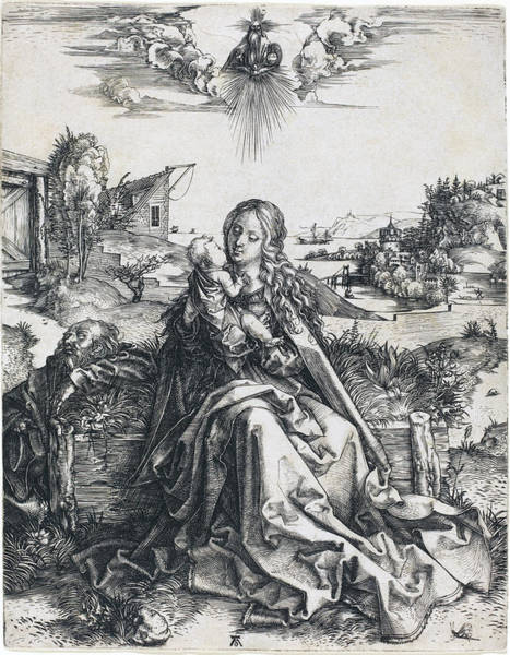 Drawing - The Holy Family With The Mayfly by Albrecht Durer
