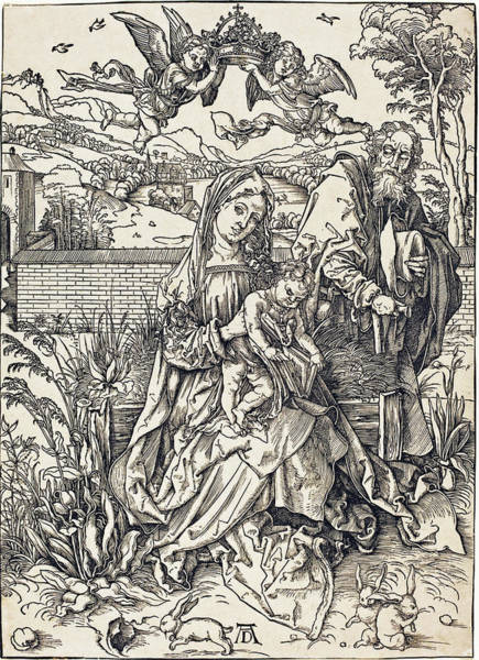 Drawing - The Holy Family With The Three Hares by Albrecht Durer