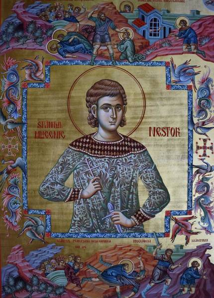Denial Painting - The Holy Martyr Nestor by Lembrau Iulian