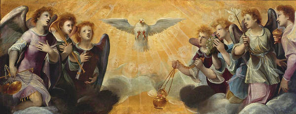 Painting - The Holy Spirit With Angels by Florentine School