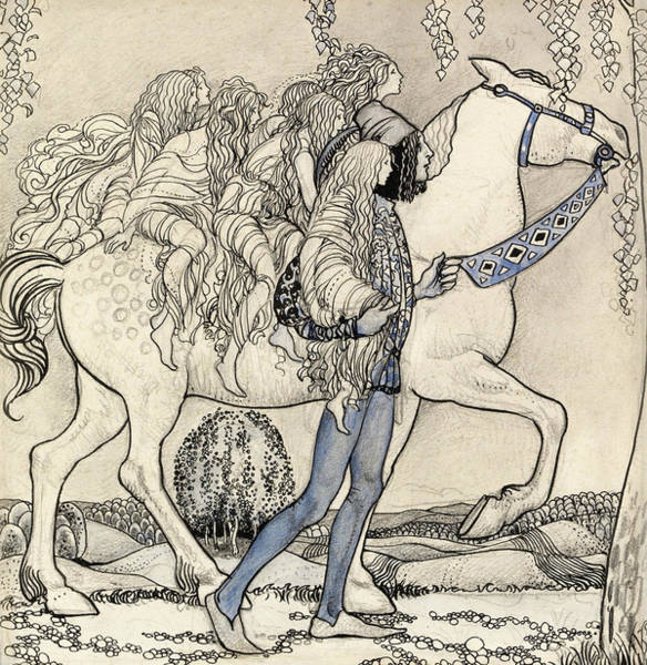 Troll Wall Art - Painting - The Horse He Led At The Bit by John Bauer