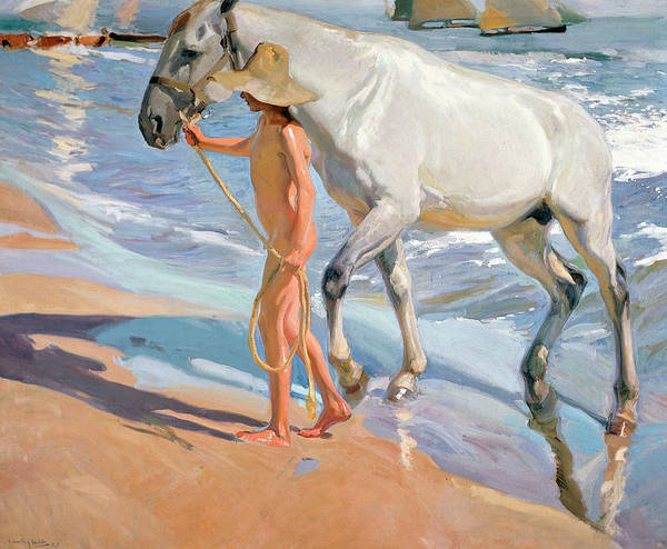 Reins Painting - The Horse's Bath by Joaquin Sorolla