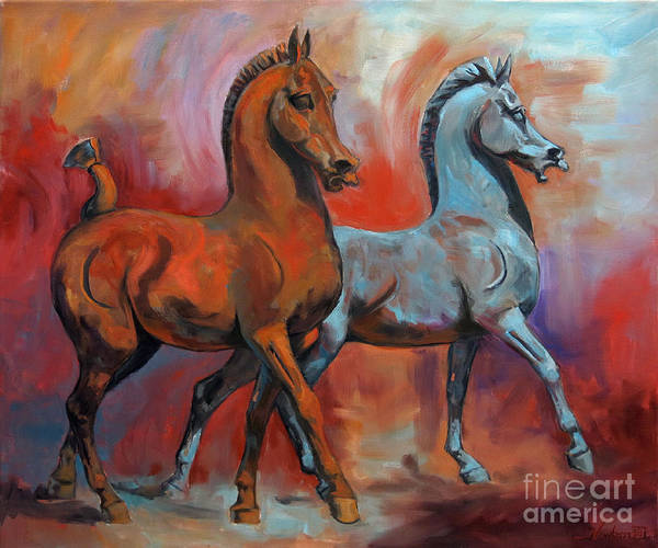 Wall Art - Painting - The Horses by Jeanne Newton Schoborg
