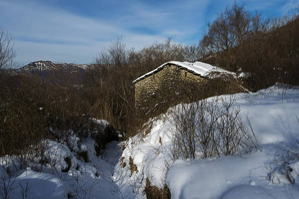 Photograph - The House On The Barego Hills With Snow by Enrico Pelos