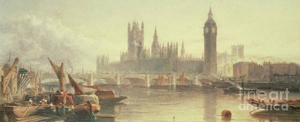 Westminster Painting - The Houses Of Parliament And Westminster Bridge by Edward Angelo Goodall