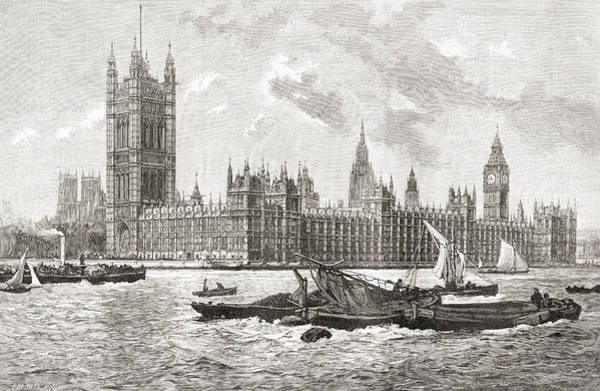 Wall Art - Drawing - The Houses Of Parliament, City by Vintage Design Pics