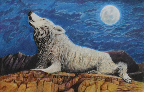 Grey Skies Drawing - The Howling by Jeanne Fischer