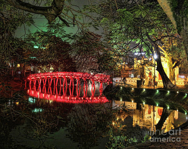 Painted Turtle Photograph - The Huc Bridge Night Hanoi by Chuck Kuhn