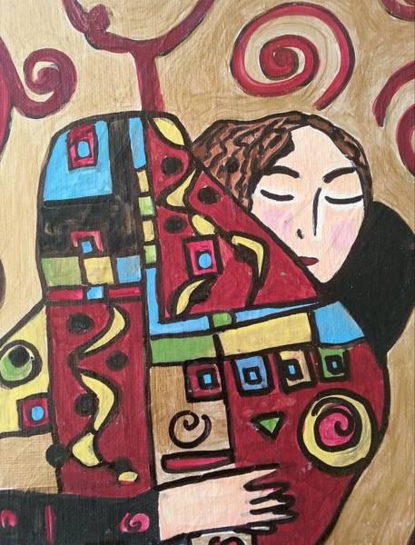 Painting - The Hug Ala Klimt by Nikki Dalton