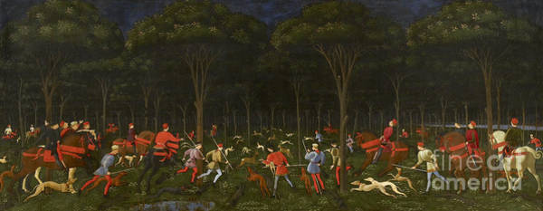 Huntsmen Wall Art - Painting - The Hunt In The Forest by Paolo Uccello