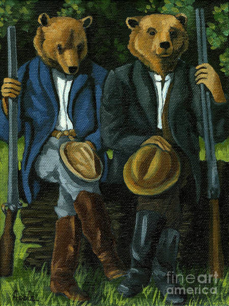 Wall Art - Painting - The Hunters - Bears Painting by Linda Apple