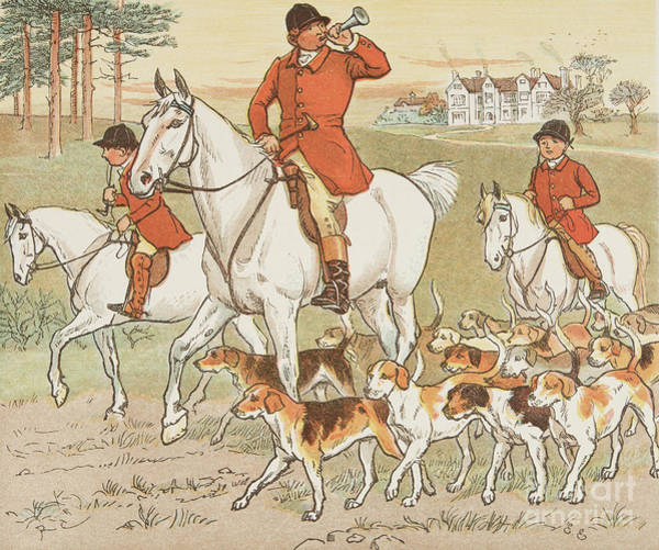 Bugling Drawing - The Huntsman Blows His Horn by Randolph Caldecott