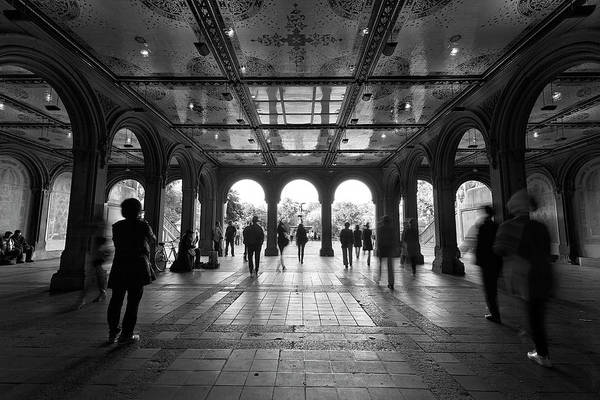 Bethesda Fountain Photograph - The Hustle Black And White by Brian Knott Photography