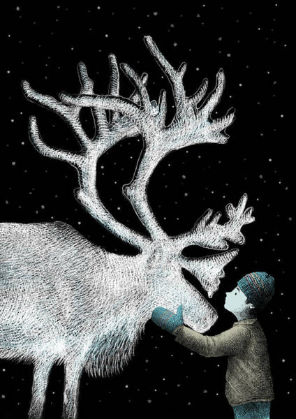 Reindeer Wall Art - Drawing - The Ice Garden by Eric Fan